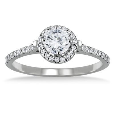 3/4 Carat Diamond Halo Engagement Ring in 10K White Gold