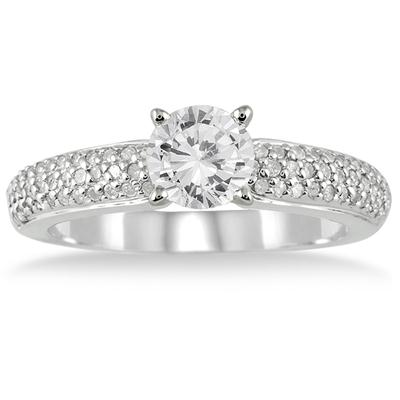 1 1/10 Carat TW Diamond Engagement in 10K White Gold (J-K Color, I2-I3 Clarity)