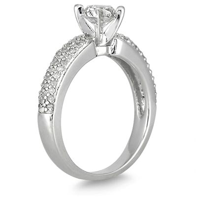 1 1/10 Carat Diamond Engagement in 10K White Gold