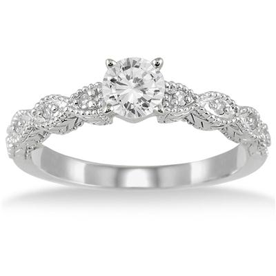 1/2 Carat Diamond Engagement Ring in 14K White Gold