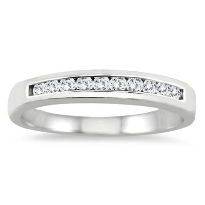 1/4 Carat Channel Set Diamond Wedding band in 14K White Gold