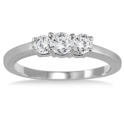 1/2 Carat Three Stone Diamond Ring in .925 Sterling Silver