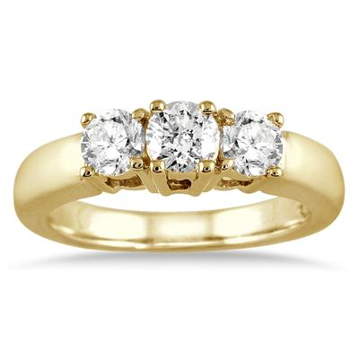 1.00 Carat Three Stone Diamond Ring in 10K Yellow Gold