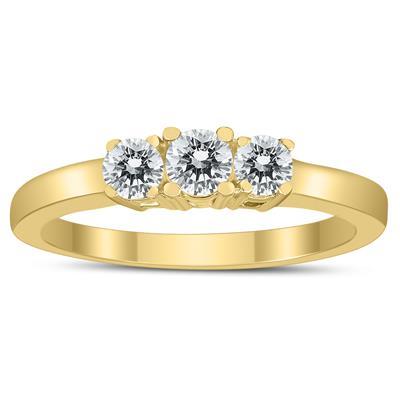 1/2 Carat TW Three Stone Diamond Ring in 10K Yellow Gold
