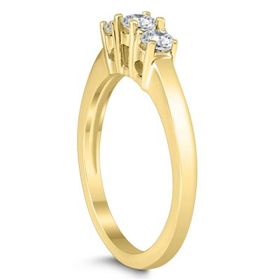 1/2 Carat Three Stone Diamond Ring in 10K Yellow Gold