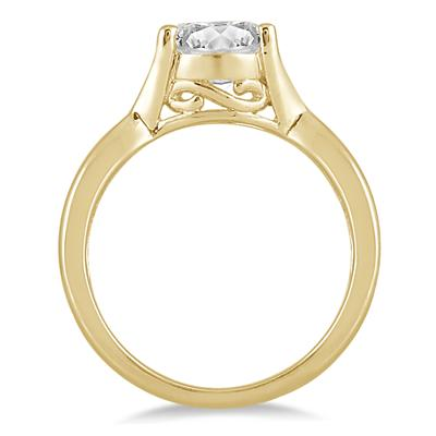 1/2 Carat Diamond Solitaire Ring in 14K Yellow Gold