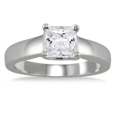 1.00 Carat Princess Cut Diamond Solitaire Ring in 14K White Gold