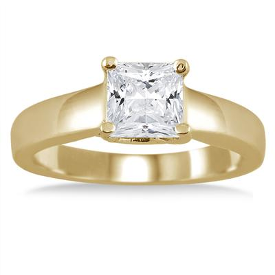 1.00 Carat Princess Cut Diamond Solitaire Ring in 14K Yellow Gold
