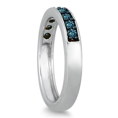 9 Stone Genuine Blue Diamond Ring in .925 Sterling Silver