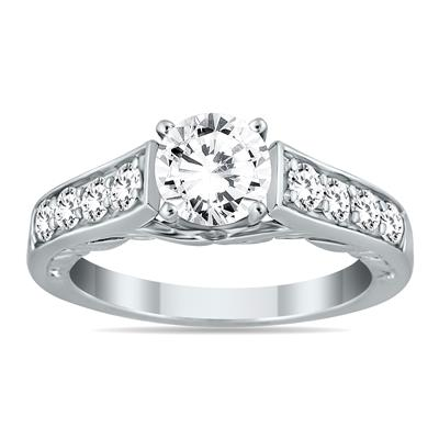 1 1/2 Carat TW Antique Diamond Ring in 14K White Gold