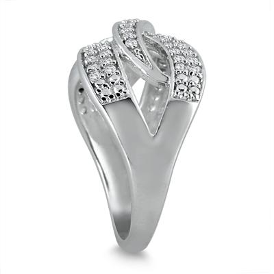 1/3 Carat White Diamond Twist Ring in .925 Sterling Silver