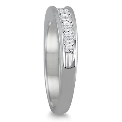 1 Carat Channel Set Princess Diamond Band in 14K White Gold