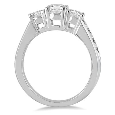 1.50 Carat Diamond Three Stone Ring in 10K White Gold