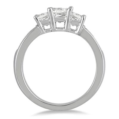 1.50 Carat Princess Cut Diamond Three Stone Ring in 14K White Gold