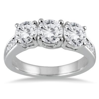 3.00 Carat Diamond Three Stone Ring in 14K White Gold