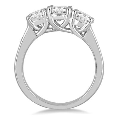 3.00 Carat Diamond Three Stone Ring in 14K White Gold
