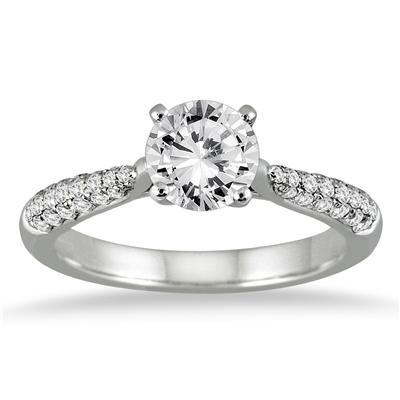 AGS Certified 1 Carat TW Pave Diamond Ring in 14K White Gold (J-K Color, I2-I3 Clarity)