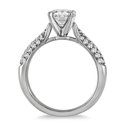 IGI Certified 1 Carat TW Pave Diamond Ring in 14K White Gold (J-K Color, I2-I3 Clarity)