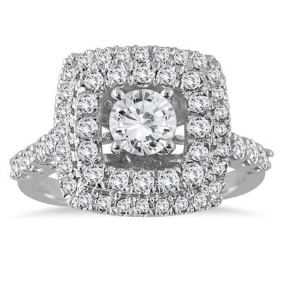 AGS Certified 1.65 Carat TW White Diamond Estate Engagement Ring in 14K White Gold (J-K Color, I2-I3 Clarity)