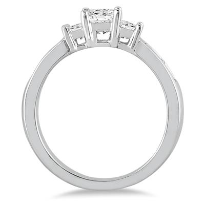 1.00 Carat Princess Cut Diamond Three Stone Ring in 14K White Gold