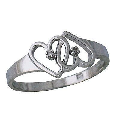 Dual Heart Diamond Ring in 10kt White Gold