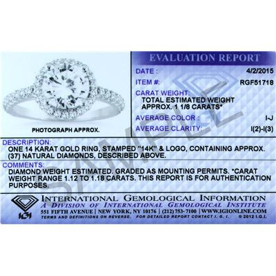 IGI Certified 1 1/10 Carat TW  Diamond Engagement Ring in 14K White Gold (J-K Color, I2-I3 Clarity)