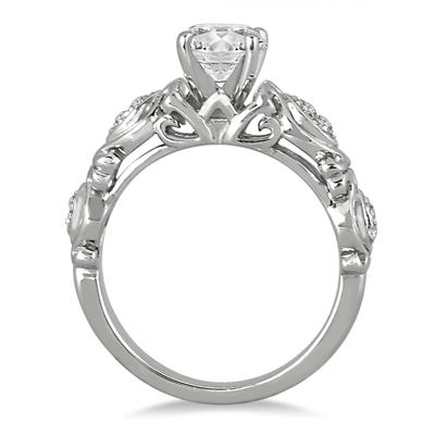 1 Carat Antique Engraved Diamond Ring in 14K White Gold
