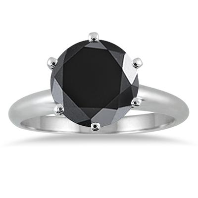 3 1/2 Carat Round Black Diamond Solitaire Ring in 10k White Gold