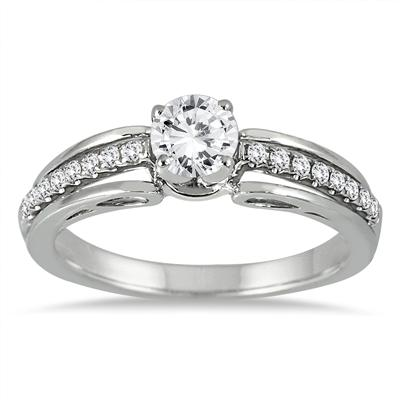 7/8 Carat Engagement Ring in 14K White Gold