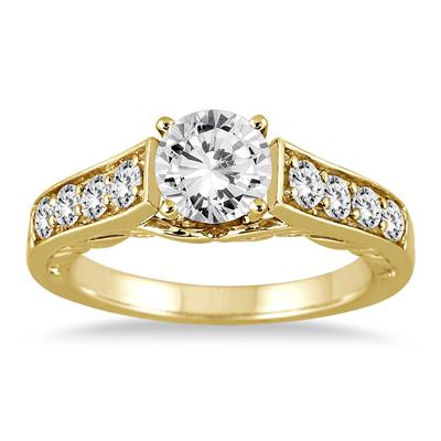 1 1/2 Carat TW Antique Diamond Ring in 14K Yellow Gold (J-K Clarity, I2-I3 Clarity)