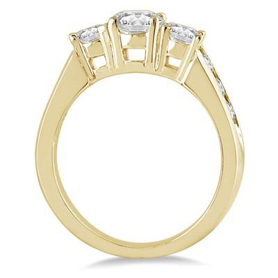 1.50 Carat Diamond Three Stone Ring in 10K Yellow Gold