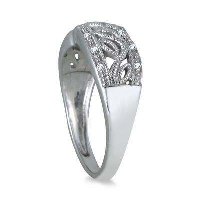 Diamond Engraved Antique Ring in .925 Sterling Silver