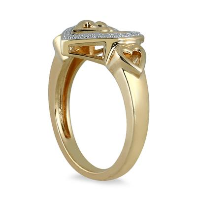 Mother and Baby Diamond Heart Ring in Gold Plated Sterling Silver