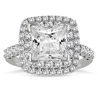 2 Carat TW Princess Diamond Estate Engagement Ring in 14K White Gold