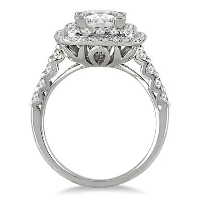 2 Carat Princess Diamond Estate Engagement Ring in 14K White Gold
