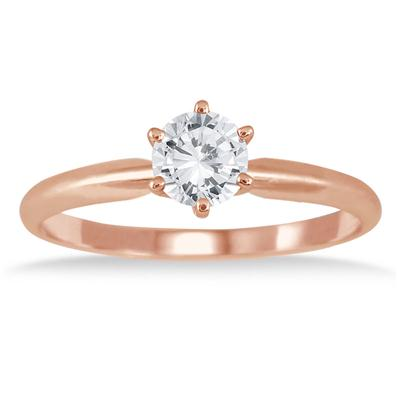 1/2 Carat Diamond Solitaire Ring in 14K Rose Gold