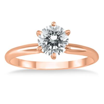 1 Carat Diamond Solitaire Ring in 14K Rose Gold