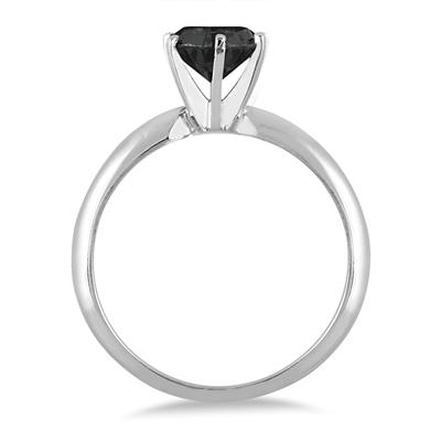 1 Carat Round Black Diamond Solitaire Ring in .925 Sterling Silver