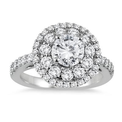2 1/10 Carat TW Halo Diamond Engagement Ring in 14K White Gold