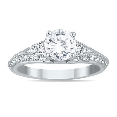IGI Certified 1 Carat TW Diamond Engagement Ring in 14K White Gold (J-K Color, I2-I3 Clarity)