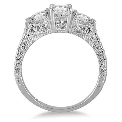 1 1/3 Carat TW Diamond Three Stone Engagement Ring in 14K White Gold
