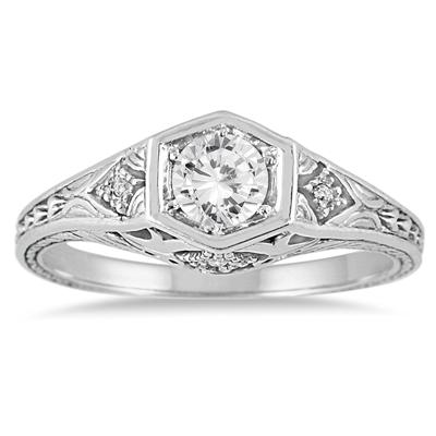 3/8 Carat Diamond Ring in 14K White Gold