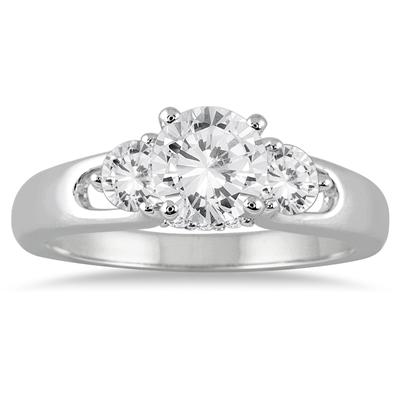 1 Carat Diamond Three Stone Engagement Ring in 14K White Gold