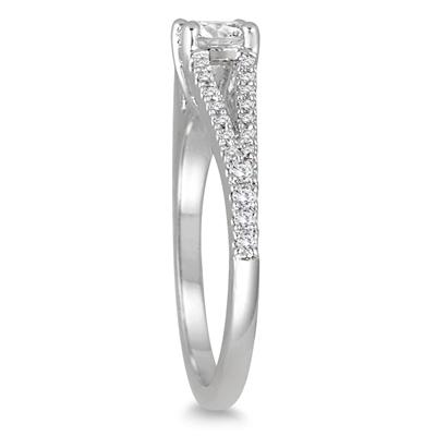 3/4 Carat Diamond Split Shank Engagement Ring in 14K White Gold