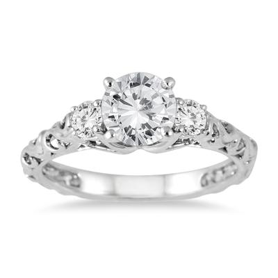 1 Carat TW Diamond Three Stone Art Deco Ring in 14K White Gold (J-K Color, I2-I3 Clarity)