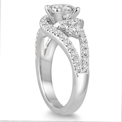 1.80 Carat TW Princess Cut White Diamond Antique Engagement Ring in 14K White Gold
