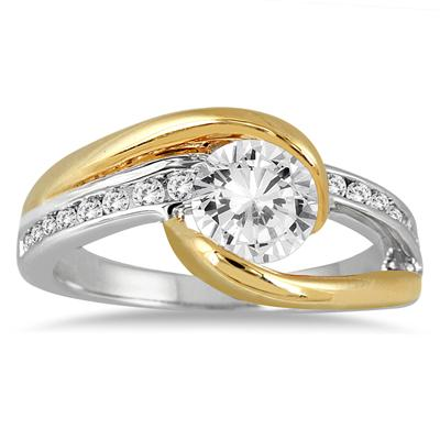 1 1/5 Carat Diamond Engagement Ring in Two Tone 14K Gold