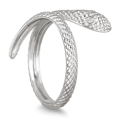 Diamond Snake Ring in 14K White Gold