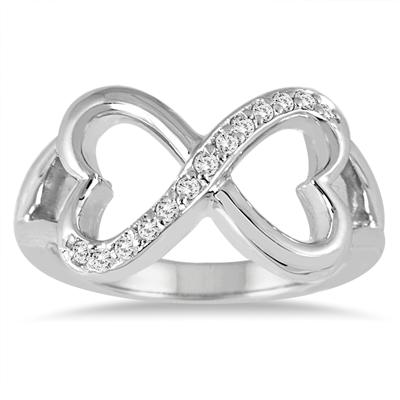 1/6 Carat Diamond Infinity Heart Ring in 10K White Gold