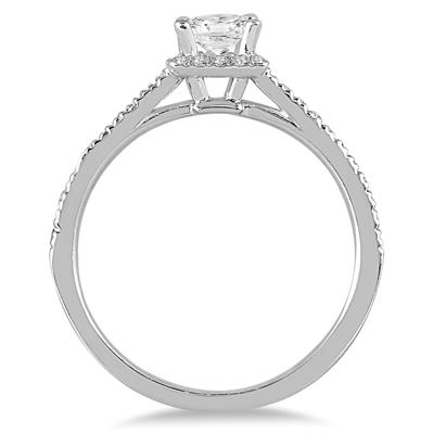 1.00 Carat Princess Cut Diamond Engagement Ring in 14K White Gold